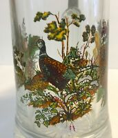 Vintage Painted Glass Beer Stein Pewter Lid Pheasant Acorns Mushrooms NEW