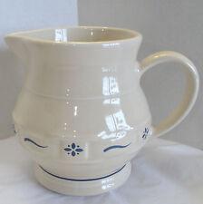 Longaberger Pottery Small Water Pitcher Beige Blue Woven Juice Milk Jug 32oz Usa