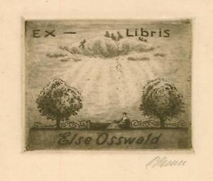 Ex libris ART DECO Exlibris by HENNE ARTUR /1887-1963/ Germany