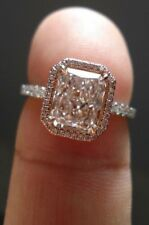 2.34 Ct Off White Emerlad Cut Moissanite Engagement Ring 925 Sterling Silver