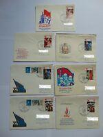 7 DDR Ganzsachen von der Junior Sozphilex 1983 mit Mi 2595 ff. und W Zd 495