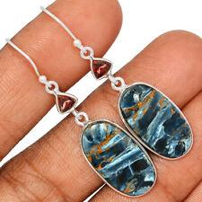 Pietersite - Namibia & Garnet 925 Sterling Silver Earring Jewelry AE170256