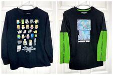 Lot of 2 Boys Mojang Minecraft Long Sleeve T-Shirts size XL 14/16 EUC!