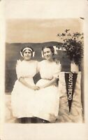 Real Photo Postcard Girls in Photo Studio with Pennant South Bend Indiana~125218