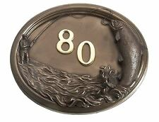 Bronze Finish Fisherman Design House Number Sign