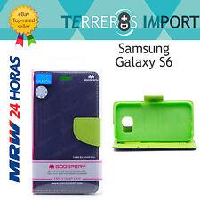 Funda de Libro Azul y Verde Mercury Goospery Samsung Galaxy S6 Fancy Diary Case