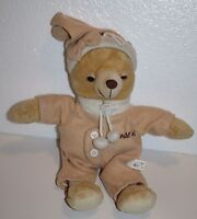 "Pajama Soft Toy TEDDY BEAR 12"" Plush Aliki SCHNARCHI Beige Tan No Sound Sleepy"