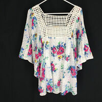 Meadow Rue Anthropologie Blouse Size Large Floral Boho Peasant Wide Sleeve