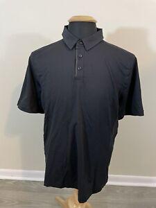 Lululemon Solid Black Tech Polo Shirt Men's Large Short Sleeve