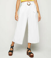 New Look Womens Off White Linen Look Crop Trousers Sizes 6 to 16
