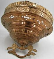 Antique Embossed Reticulated Brass Hanging Oil Kerosene Lamp Pull Down Mechanism