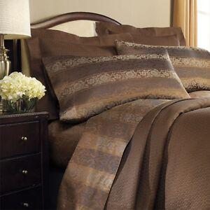 Sferra ELLA 3P Matelasse King Blanket Cover Coverlet Shams $788 Chestnut Brown