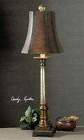 """LARGE NEW 33"""" BRONZE SILVER TABLE LAMP SQUARE BROWN SHADE READING DESK LIGHT"""