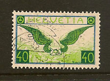 SWITZERLAND :1929 40c blue and apple-green  Granite Paper SG322 fine used