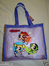 NEW WITH TAGS POWERPUFF GIRLS PLASTIC TOTE BAG  PURPLE
