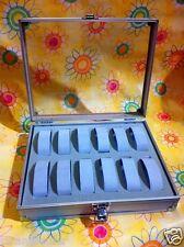 Uhrenkoffer Uhrenbox Uhrenkasten Schaukasten Uhr Box Alu für 12 Uhren Grau