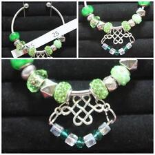 Open Bangle Celtic Love Knot Charm & Green Beads OOK Handmade Christmas #25