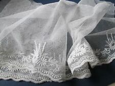 Antique nice embroidered net  lace-flowers  white cotton/Very nice for dolls/