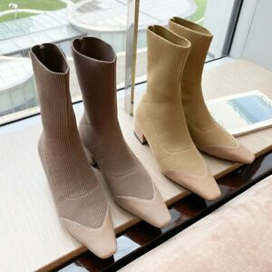 Womens Chic Leather Knitted Square Toe Pull On Bootie Ankle Boots Sock Shoes SKG