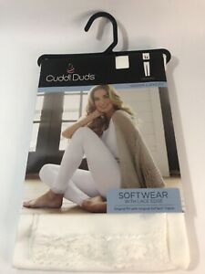 Cuddle Duds Soft Wear Lace Edge Ivory Leggings Warm Layers Women's 1X
