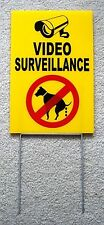 "Video Surveillance - No Dog Poop 8""X12"" Plastic Coroplast Sign with Stake y"
