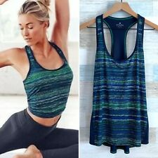 Athleta Chi Tank Top Blue Green Retreat Print Racerback Stretch Womens Large