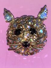 Vintage Aurora Borealis Golden Iridescent Rhinestone Kitty Cat Face Brooch Pin