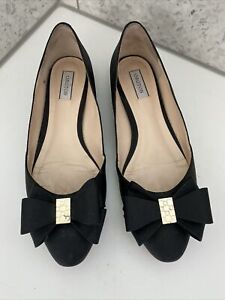 Oroton Twist Texture Bow Flats Black 38 7 Leather With Box And Dust Bags