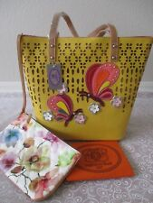 SHARIF PERFORATED COLLAGE YELLOW TOTE AND WRISTLET SET PURSE  - NWT