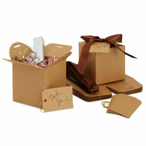 12 Pack Kraft Brown Paper Gift Boxes for Bridesmaid Proposal, Wedding Favors