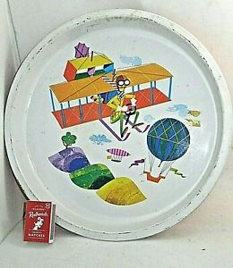 Vintage Round Metal TRAY Magnificent Men in their Flying Machines Style Planes
