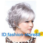 Hot 2016 New lady short silver gray mixed curly cosplay full wigs + Free wig cap