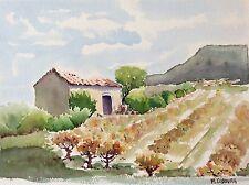Grande aquarelle Provence Marseille colline ferme vignes signé M. Cobourg