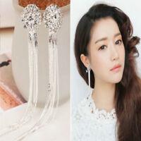 Dangle Drop Clip on Earrings Crystal Women Ladies Clip-on Silver Tassle