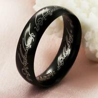 Lord of the Rings Lotr Charm Black Stainless Steel Fashion Women Men's Ring Gift