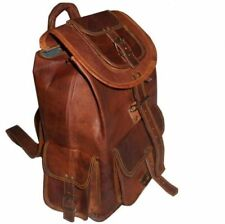 """16"""" Men's Real Leather Backpack Laptop Bag Large Hiking Travel Camping Carry On"""