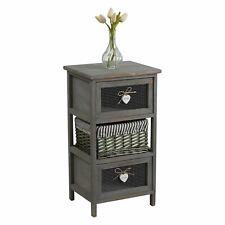 Commode 2 tiroirs 1 panier en bois paulownia shabby chic vintage rustique gris