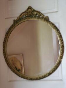 Vintage Carved Wood Gold Gilt Oval Round Mirror LARGE Hollywood Regency
