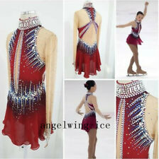 Red Skating Dress Custom Figure Skating Dreesses Girls Beaded