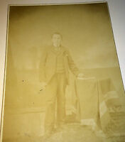 Antique Victorian American Young Man! Big Book! Striped Stand Old Cabinet Photo!