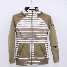 Burton Snowboard Jacket Dante Womens M Medium Striped Green White Dryride Hooded