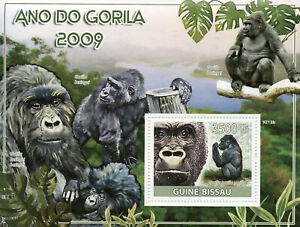 Guinea-Bissau Wild Animals Stamps 2009 MNH Year of Gorilla Gorillas Fauna 1v S/S