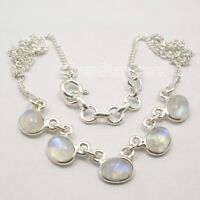 Blue Rainbow Moonstone Necklace 42.6 cm 925 Pure Silver Gemstone Art Jewellery