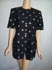 Escada 42 10 Dark Navy Blue Gold Metallic Stars Sexy 80's Vintage Jacket Blazer
