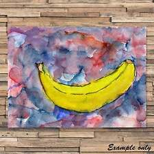 Banana  Abstract watercolour and ink painting fruit signed Print ID : 011