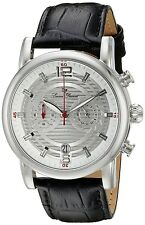 Lucien Piccard 14084-02S Silver Dial Black Leather Strap Men's Quartz Watch