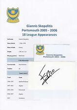 GIANNIS SKOPELITIS PORTSMOUTH 2005-2006 ORIGINAL HAND SIGNED CUTTING/CARD