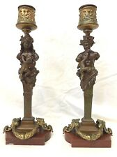 AN IMPORTANT CIRCA 1800 PAIR OF FRENCH BRONZE ON MARBLE FIGURINE CANDLESTICKS