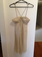 THIRD MILLENIUM NWOT Sz8 Cream/Gold 100% SILK Bedazzled Formal Dress Sleeveless