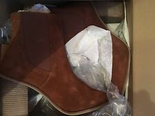 Mango Suede Brown Block Ankle Boots Size UK 7